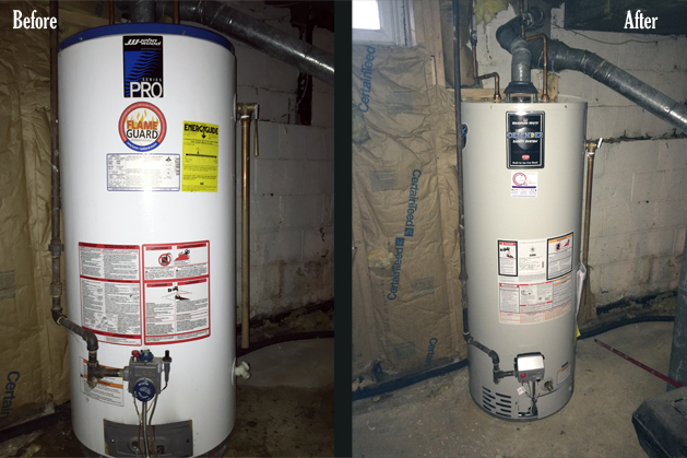 before and after - hot water heater