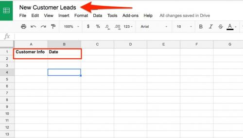 3. Build lead capture spreadsheet