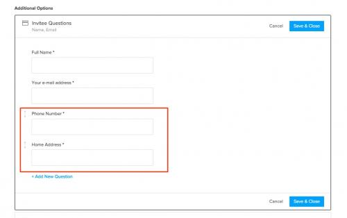 10. Calendly - add phone & home address to invitee questions
