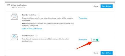 11. Calendly - turn email reminders on