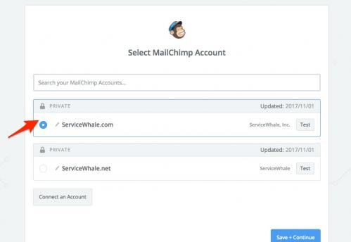 17. zapier - connect mailchimp account