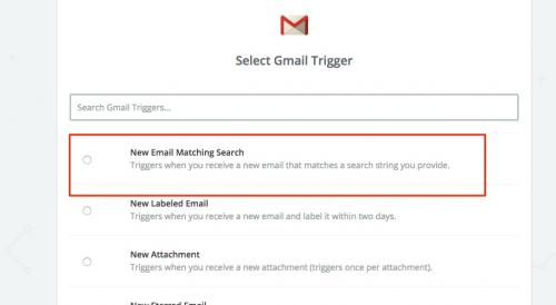 3. zapier - new email matching search