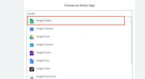 6. zapier - set up google sheets as step 2