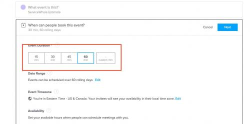 7. Calendly- choose event duration