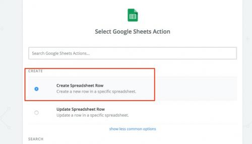7. zapier - create spreadsheet row