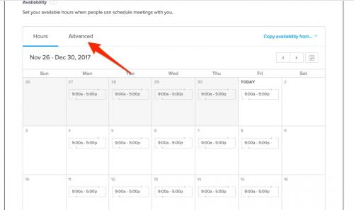 8. Calendly  - choose advanced availability